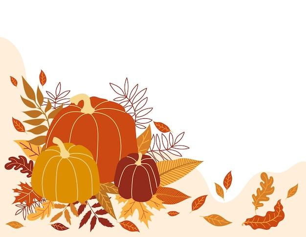 Ilustracja wektorowa pomarańczowy dyni. jesienna dynia halloween, warzywo graficzny ikona lub pieczęć. kolorowa ramka z dyniami i liśćmi