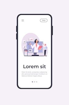Ilustracja wektorowa pomocy medycznej online. człowiek za pomocą aplikacji na smartfony do konsultacji z lekarzem. mężczyzna pacjent rozmawia z lekarzem w internecie