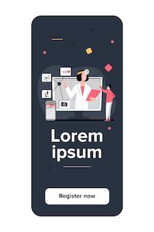 Ilustracja wektorowa pomocy medycznej online. człowiek za pomocą aplikacji na smartfony do konsultacji z lekarzem