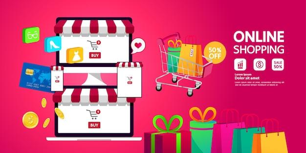 Ilustracja wektorowa pomysł na zakupy online