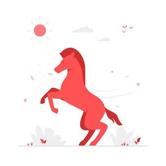 Ilustracja wektorowa postać czerwonego konia