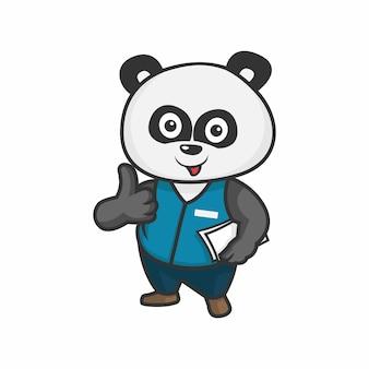 Ilustracja wektorowa postać usług kredytowych panda