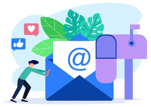 Ilustracja wektorowa postać z kreskówek graficznych usług e-mail