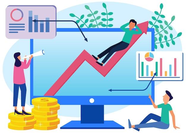 Ilustracja wektorowa postać z kreskówek graficznych wzrostu biznesu