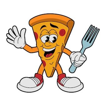Ilustracja wektorowa postaci pizzy w stylu kreskówki