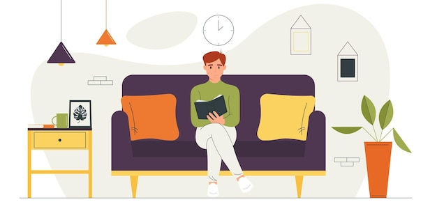 Ilustracja Wektorowa Postaci Z Kreskówek Czytającej Książkę Premium Wektorów