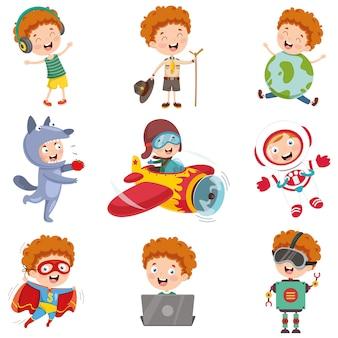 Ilustracja wektorowa postaci z kreskówek