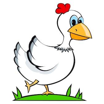 Ilustracja wektorowa postaci z kreskówki kura, która biegnie
