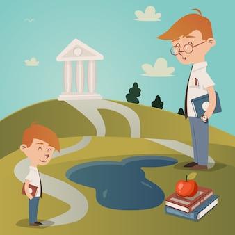 Ilustracja wektorowa powrót do szkoły z uroczym małym chłopcem z podręcznikiem pod pachą, stojącą na ścieżce prowadzącej do budynku uczelni na szczycie wzgórza, obserwowany przez swojego nauczyciela, gdy idzie do szkoły
