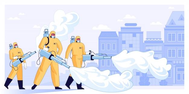 Ilustracja wektorowa pracowników dezynfekujących lub naukowców medycznych w masce ochronnej i kombinezonach do czyszczenia i dezynfekcji komórek koronawirusa w mieście środki zapobiegawcze pandemiczny wirus mers-cov 2019-ncov