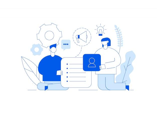Ilustracja wektorowa pracy zespołowej i strategii biznesowej