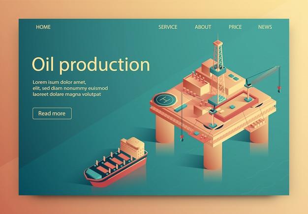 Ilustracja wektorowa produkcji ropy naftowej napis.