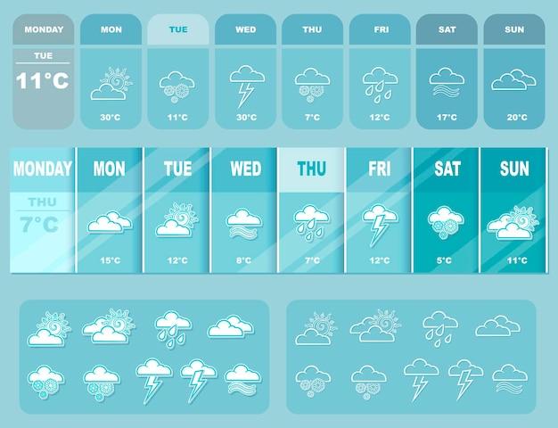 Ilustracja wektorowa prognozy pogody duży niebieski z ikonami