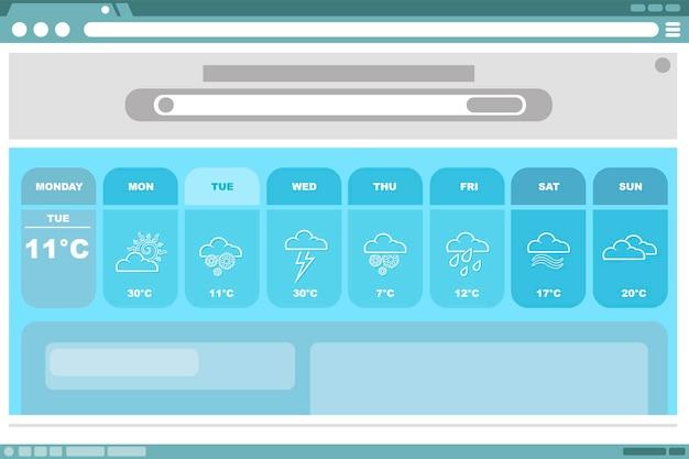 Ilustracja wektorowa prognozy pogody w kolorze niebieskim z interfejsem ikon