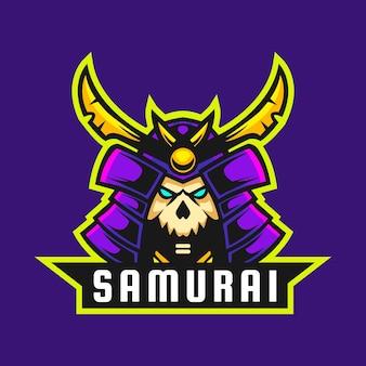 Ilustracja wektorowa projekt czaszki samuraja