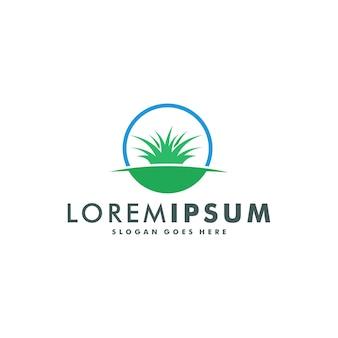 Ilustracja wektorowa projekt logo ekologicznego trawnika