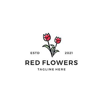 Ilustracja wektorowa projekt logo kwiaty róży