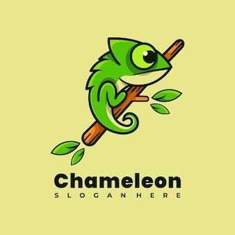 Ilustracja wektorowa projekt logo maskotka kameleon