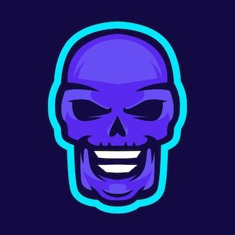 Ilustracja wektorowa projekt logo maskotki czaszki