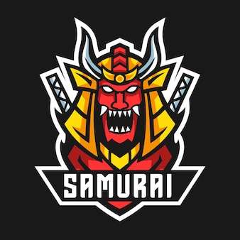 Ilustracja Wektorowa Projekt Logo Maskotki Samuraja Premium Wektorów