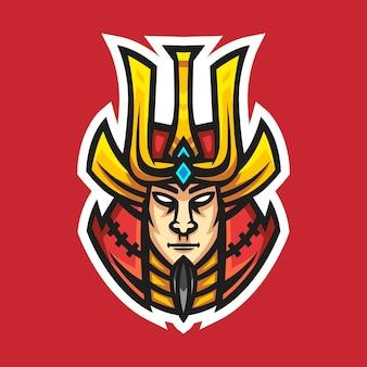 Ilustracja wektorowa projekt logo maskotki samuraja