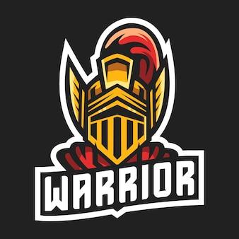 Ilustracja wektorowa projekt logo maskotki wojownika