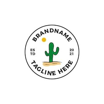 Ilustracja wektorowa projekt logo odznaka kaktus