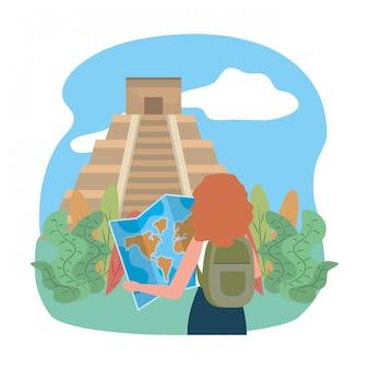 Ilustracja wektorowa projekt punkt orientacyjny piramidy kukulkan