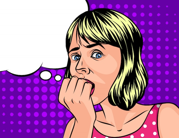 Ilustracja wektorowa przestraszonej kobiety w stylu pop-artu na fioletowym półtonach. zszokowana twarz pięknej kobiety
