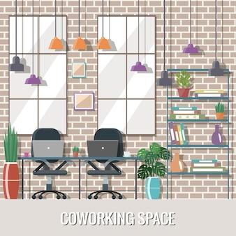 Ilustracja wektorowa przestrzeni coworkingowej