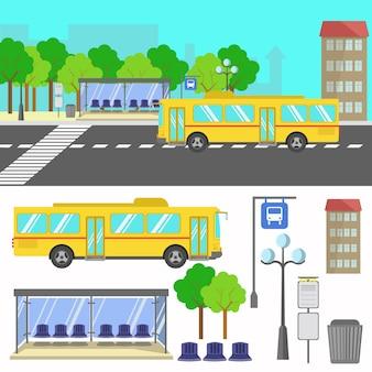 Ilustracja wektorowa przystanku autobusowego.