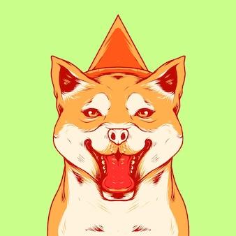 Ilustracja wektorowa psa z kapeluszem urodzinowym stożka vintage ilustracji wektorowych, nadaje się do logo, zaproszenia na przyjęcie, kartki z życzeniami i produktu do druku itp.