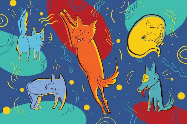 Ilustracja wektorowa psów cyrkowych. zabawne dziecinne postacie emocjonalne.