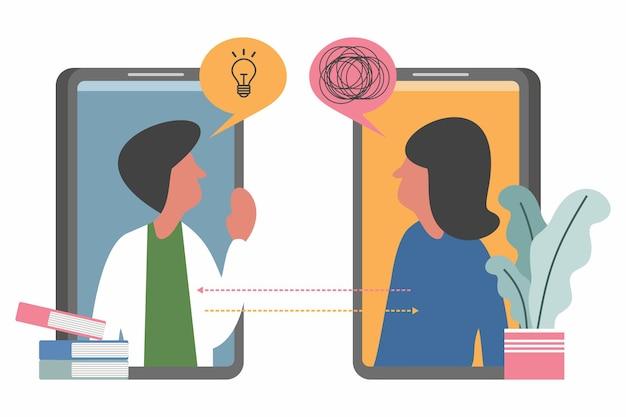 Ilustracja wektorowa psychoterapii online psycholog, lekarz pomaga pacjentowi