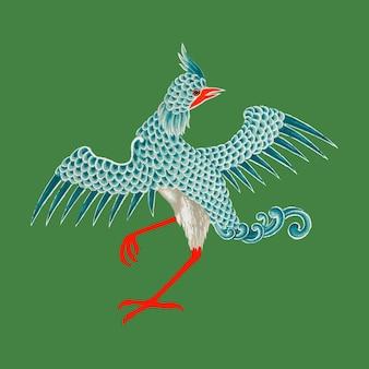 Ilustracja wektorowa ptak orientalny sztuki chińskiej