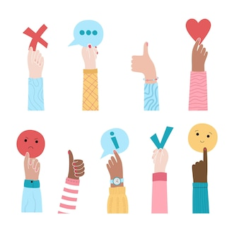 Ilustracja wektorowa rąk trzymających informacje zwrotne. recenzja klienta dotycząca doświadczenia użytkownika. zadowolenie użytkownika.