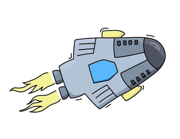 Ilustracja wektorowa rakiety statku kosmicznego. doodle kreskówka prom kosmiczny wektor ikona.