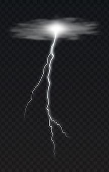 Ilustracja wektorowa realistycznego stylu białej świecącej błyskawicy na białym tle, naturalny efekt świetlny. magiczny element błyskawicy