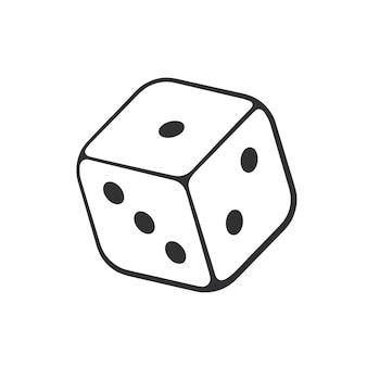 Ilustracja wektorowa ręcznie rysowane doodle jednej kości kasyna szkic kreskówka symbol hazardu gry