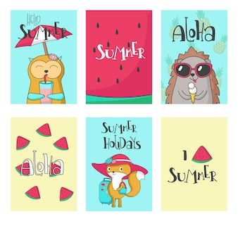 Ilustracja wektorowa ręcznie rysowane karty lato zwierząt