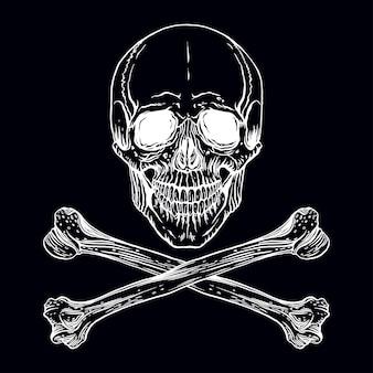 Ilustracja wektorowa ręcznie rysowane ludzkiej czaszki ze skrzyżowanymi kośćmi