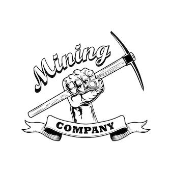 Ilustracja wektorowa ręka górników. twibill w ludzkiej pięści, tekst na wstążce. koncepcja firmy górniczej dla szablonów emblematów i odznak