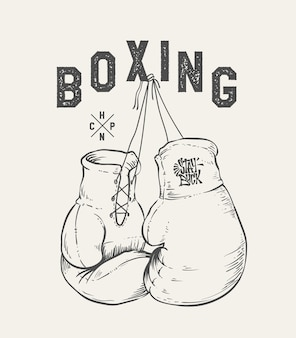 Ilustracja wektorowa rękawice bokserskie. t-shirt z nadrukiem.