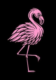 Ilustracja wektorowa retro różowy flaming