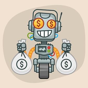 Ilustracja wektorowa, robot trzyma dwie torby pieniędzy, format eps 10
