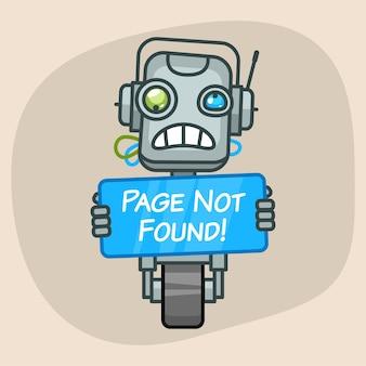 Ilustracja wektorowa, robot trzyma stronę znaku nie znaleziono, format eps 10
