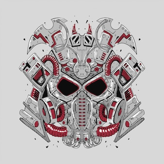 Ilustracja wektorowa robota samuraja dla projektu t-shirt