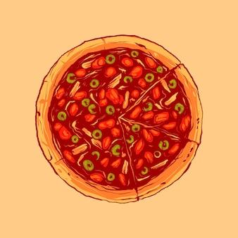 Ilustracja wektorowa rocznika pizzy z polewą z sera mozzarella, kiełbasą, grzybami i innymi warzywami, nadaje się do produktów spożywczych i napojów