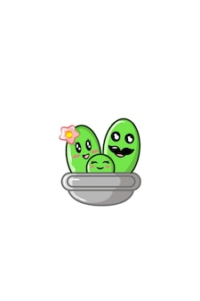 Ilustracja wektorowa rodziny kaktusów