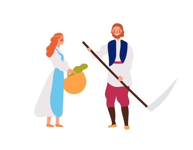 Ilustracja wektorowa rodziny płaskich średniowiecznych chłopów. rustykalna młoda dziewczyna z koszem i mężczyzna z postaciami z kreskówek kosą dłoni. uśmiechnięci rolnicy, pracownicy wiejscy na białym tle.